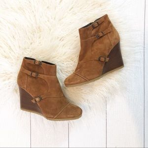J.Crew | Greer Cognac Wedge Ankle Boots | Booties